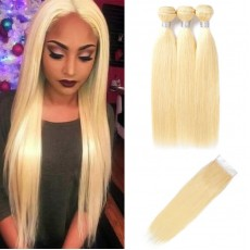 3 Bundles Of 613 Blonde Straight Hair With Lace Closure