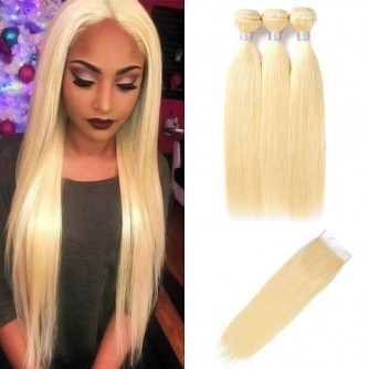3 Bundles Of 613 Blonde Straight Hair