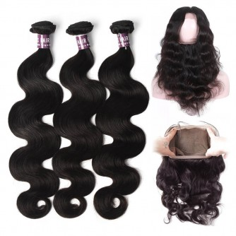 3 Bundles of Brazilian Body Wave Hair with 360 Frontal