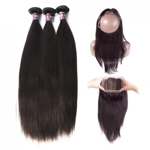 3 Bundles of Brazilian Straight Hair with 360 Frontal
