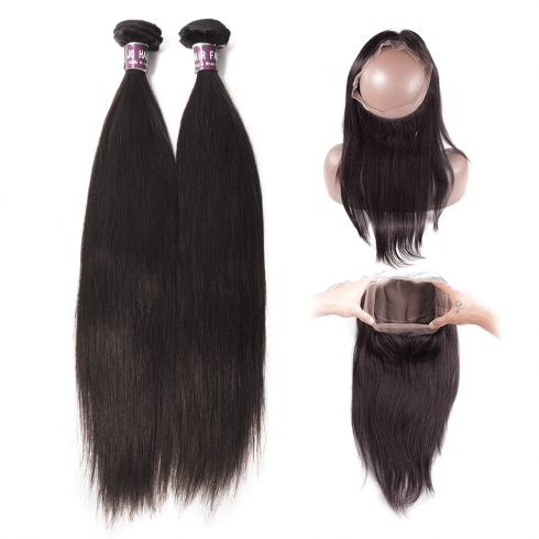 2 Bundles of Brazilian Straight Hair with 360 Frontal