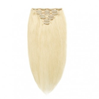 Straight 60# Ash Blonde Remy Clip In Hair Extensions