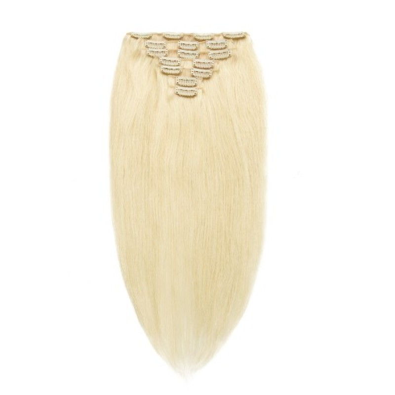 Straight 60 Ash Blonde Remy Clip In Hair Extensions Jcchst