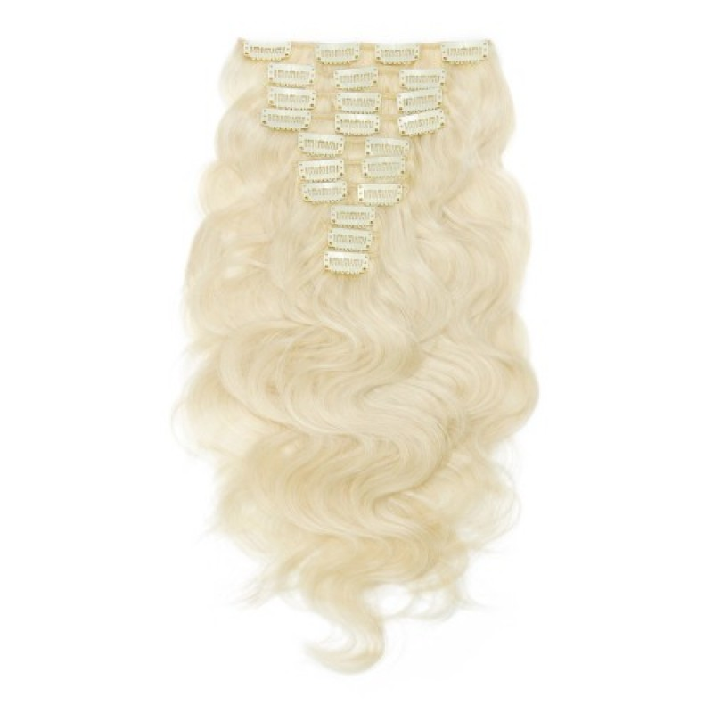 Body Wave 60 Ash Blonde Clip In Hair Extensions