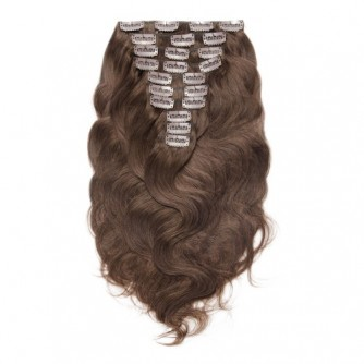 Body Wave 4# Clip In Chocolate Brown Hair Extensions