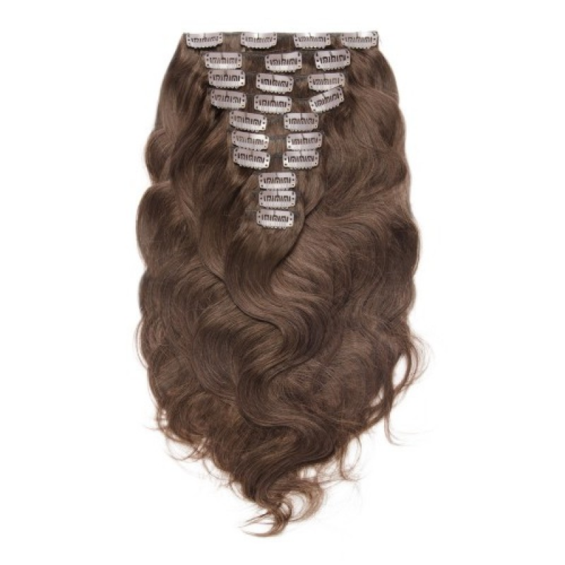 Body Wave 4 Clip In Brown Hair Extensions