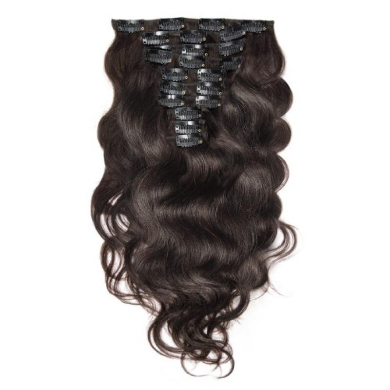 Body Wave 2 Dark Brown Clip In Hair Extensions