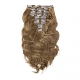 Body Wave 8# Light Brown Clip In Hair Extensions 9PCS