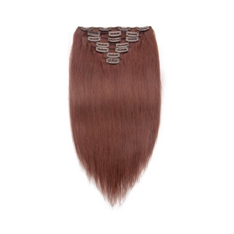 Dark Auburn 33 Straight Clip In Hair Extensions