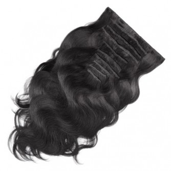 Jet Black Body Wave Clip In Real Hair Extensions