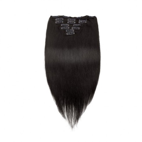 Natural Black 1B Straight Clip In Hair Extensions