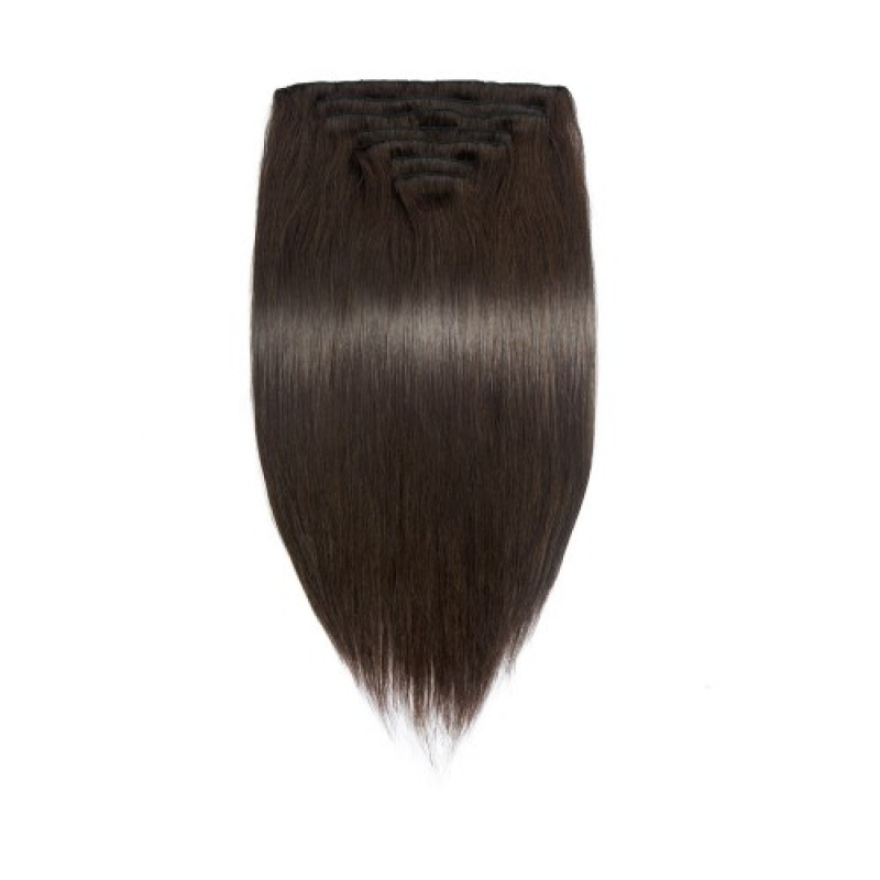 Straight 2 Clip In Dark Brown Hair Extensions
