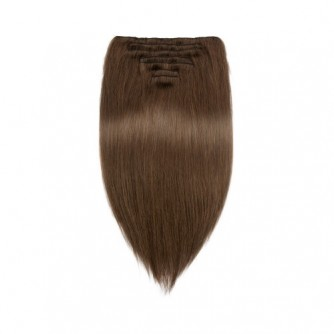 Straight 4# Clip In Medium Brown Hair Extensions