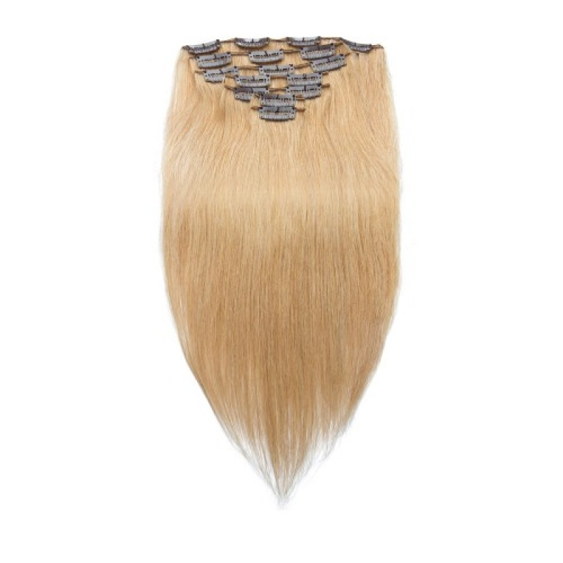 Straight 27 Clip In Strawberry Blonde Hair Extensions