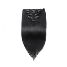 Straight 1# Jet Black Clip In Hair Extensions