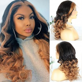 Highlight Color 1B Natural Black And Honey Blonde Lace Front Wigs