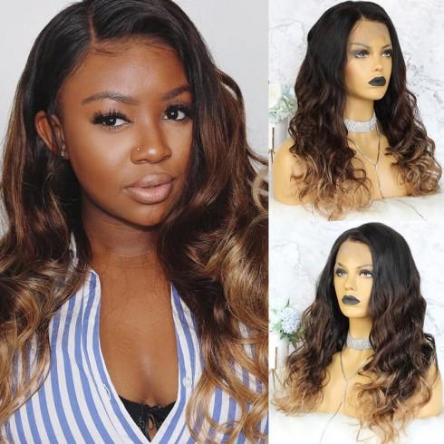 Ombre Lace Front Wigs 3 Color 1b/#4/#27