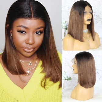 13X6 Ombre Straight Lace Front Bob Wigs - 10~14inches