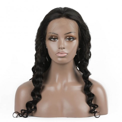 Loose Curly Virgin Brazilian Hair Full Lace Wigs