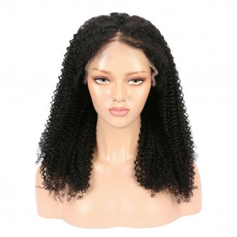 Full Lace Virgin Indian Human Hair Kinky Curly Wigs