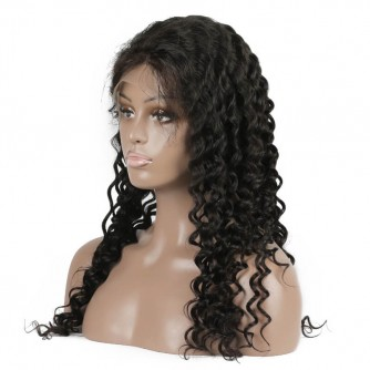 Deep Wave Virgin Indian Hair Full Lace Wigs