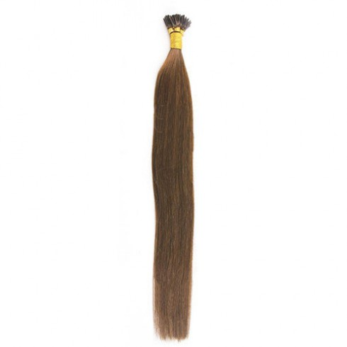 Straight 8# Light Chestnut Remy I Tip Hair Extensions