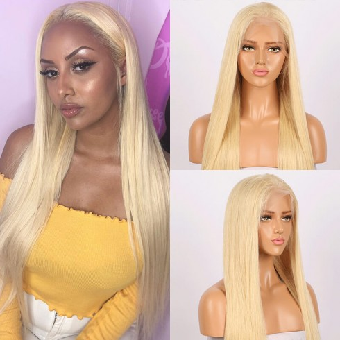 #613 Blonde Straight Lace Front Brazilian Remy Hair Wigs