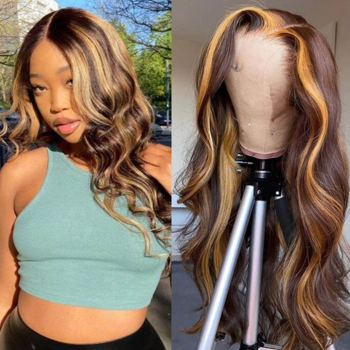 Highlight Human Hair Body Wave Lace Front Wigs