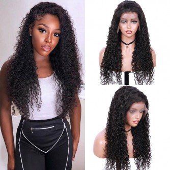13X6 Jerry Curly Virgin Human Hair Lace Front Wigs - 10~24inches