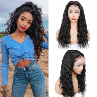 13X6 Natural Wave Virgin Human Hair Lace Front Wigs - 10~24inches