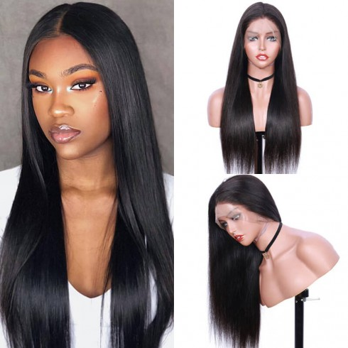 Silky Straight Brazilian Virgin Hair Lace Front Wigs