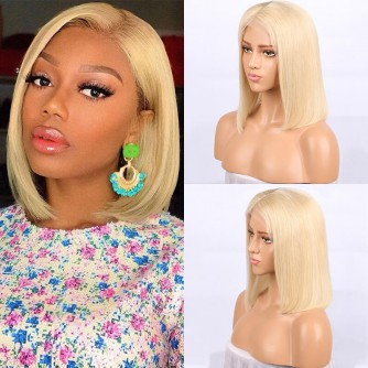 #613 Blonde Brazilian Hair Straight Lace Front Bob Wigs