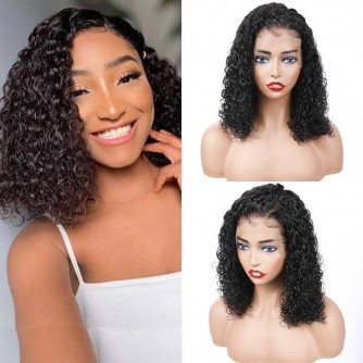 13X6 Natural Virgin Brazilian Hair Curly Lace Front Bob Wigs - 10~24inches