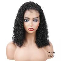 Curly Lace Front Virgin Brazilian Hair Bob Wigs