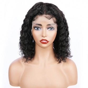 Deep Wave Lace Front Virgin Brazilian Hair Bob Wigs