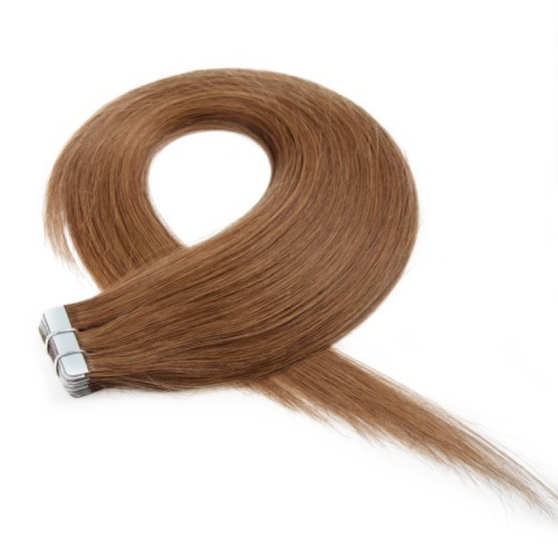 Light Brown 8 Straight Seamless Tape In Hair Extensions