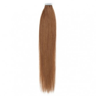 Light Brown 8# Straight Seamless Tape In Hair Extensions