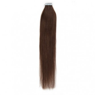 Straight 4# Chocolate Brown Tape In Hair Extensions