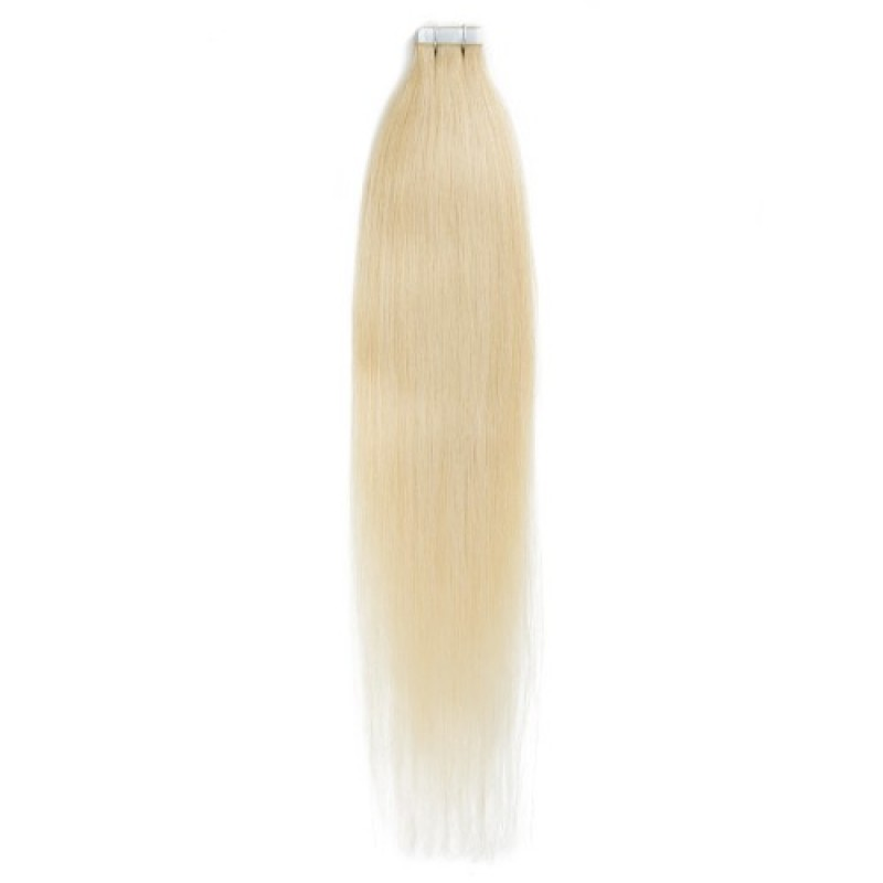 Straight 24 Sandy Blonde Tape In Seamless Hair Extensions