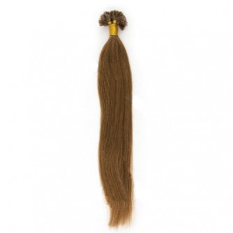 Straight 8# Light Brown Remy U Tip Hair Extensions